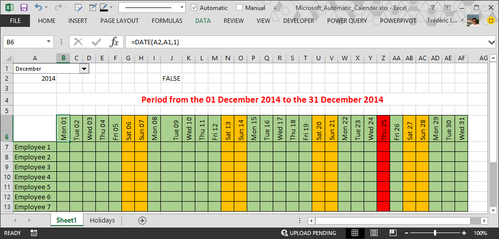 How to make automatic calendar in Excel