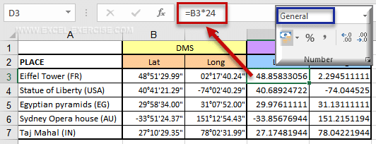 How to convert coordinate latitude and longitude with Excel