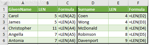 The LEN function returns the number of characters in a cells