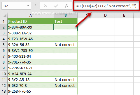 Function IF with a test based on the length of the ID