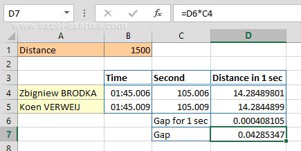 Calculation of tenths, hundredths and thousandths with Excel