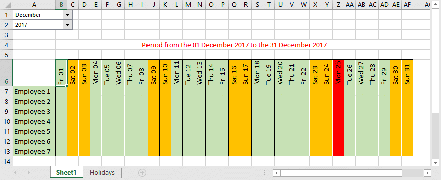 calendar will automatically change the color of the weekend holidays providing your list is up to date of course and also hide columns as necessary