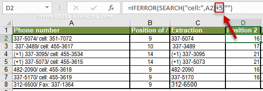 Function SEARCH returns the position of characters in a string