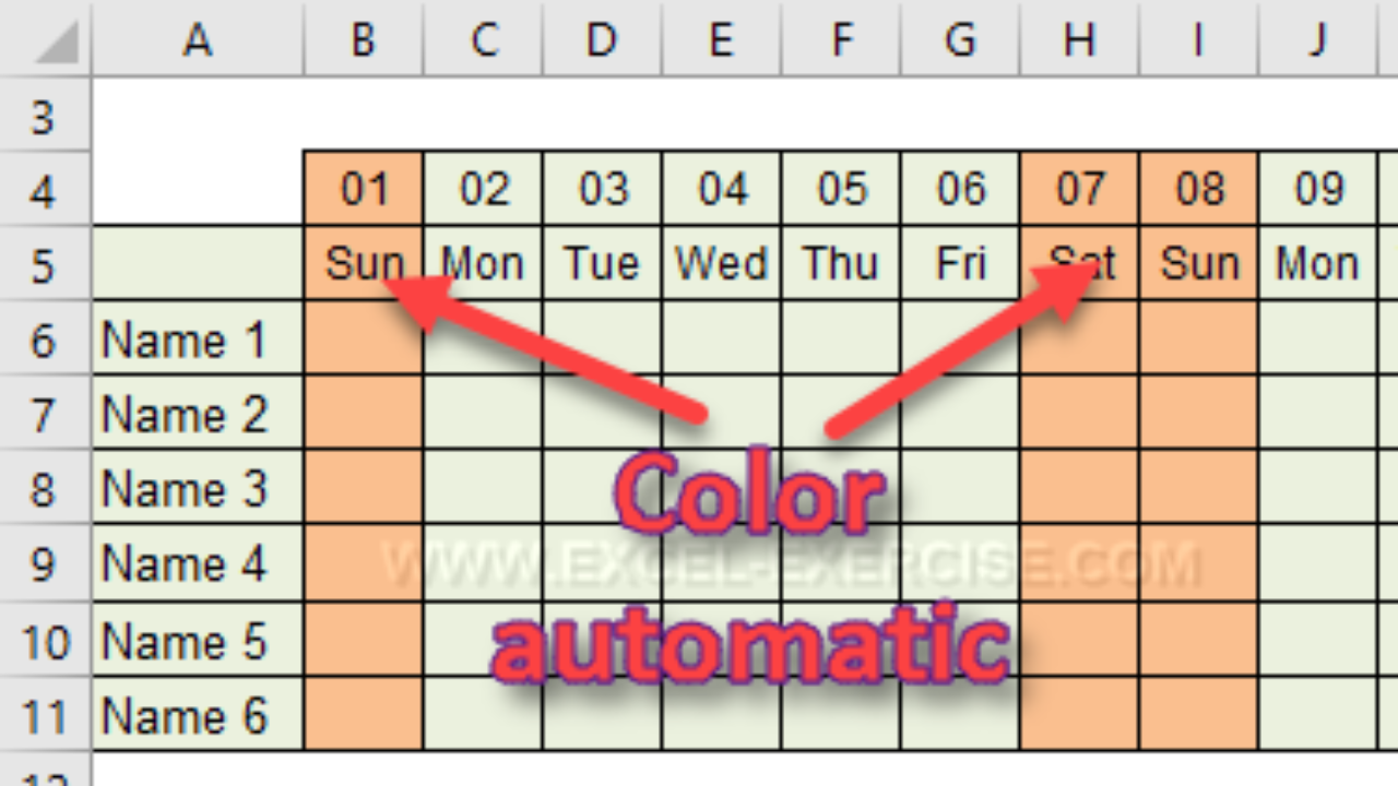 Using conditional formatting to highlight dates - Excel Exercise