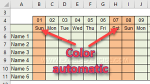 The weekends have a different color automatically