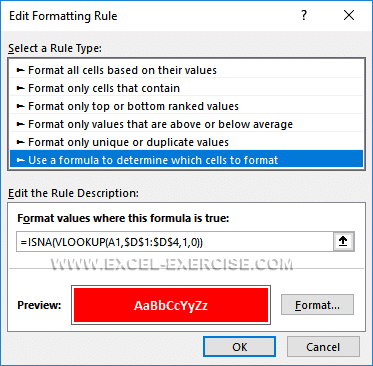 Copy of the formula as conditional formatting rules