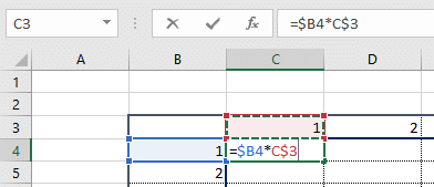 Formula with mixed reference