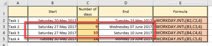 Add days without including the weekend in Excel it's possible