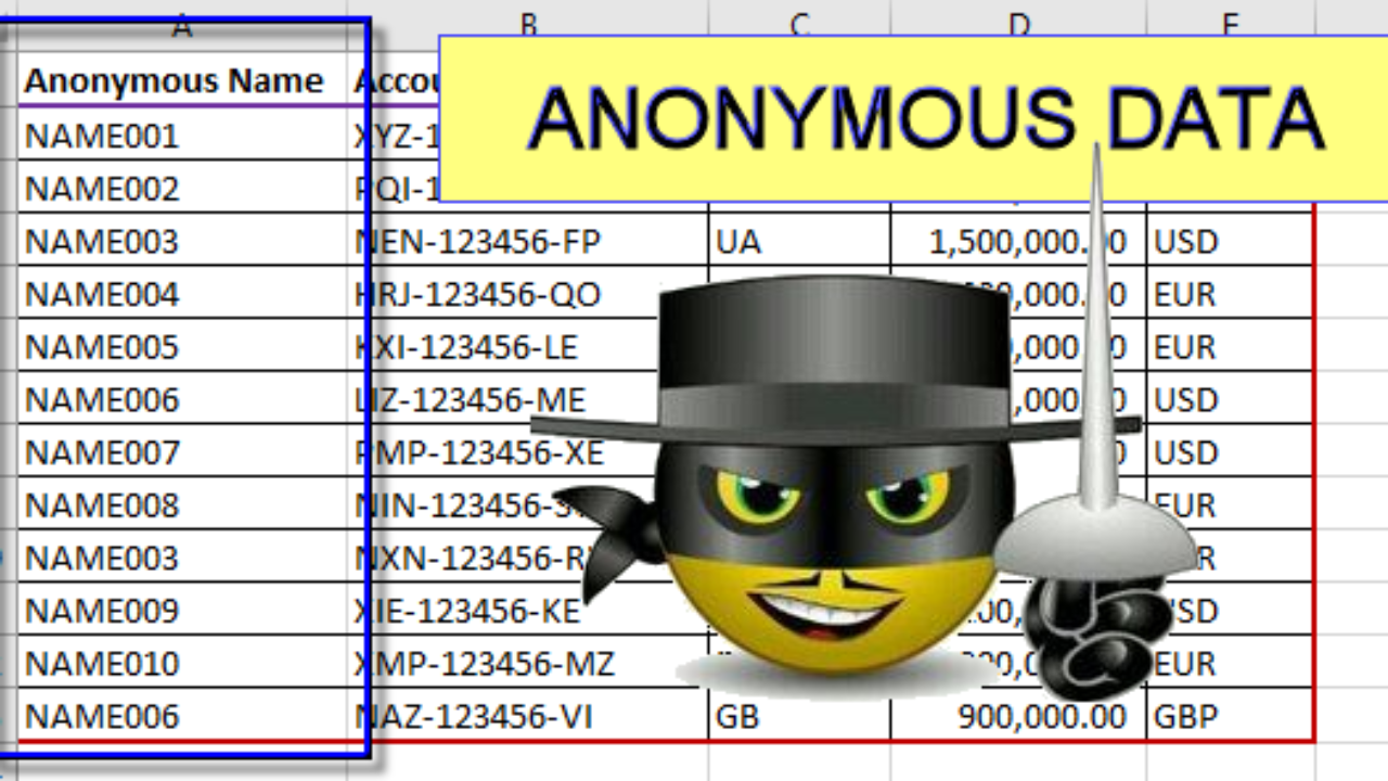 Anonymise your data - Excel Exercise