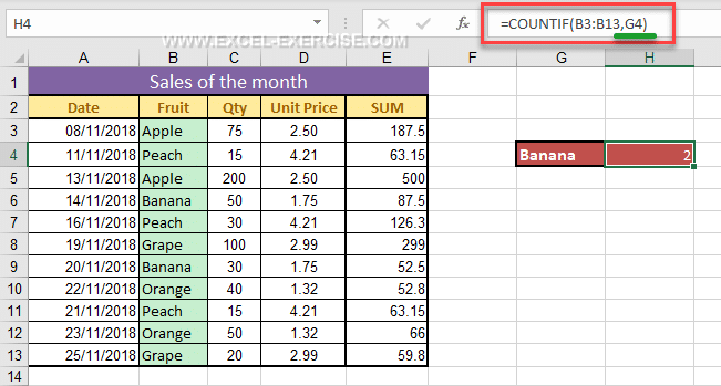 COUNTIF - Excel Exercise