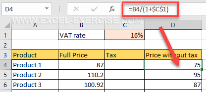 Basic calculation in Excel
