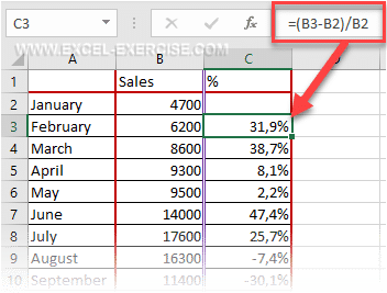 Percentage Increase Excel