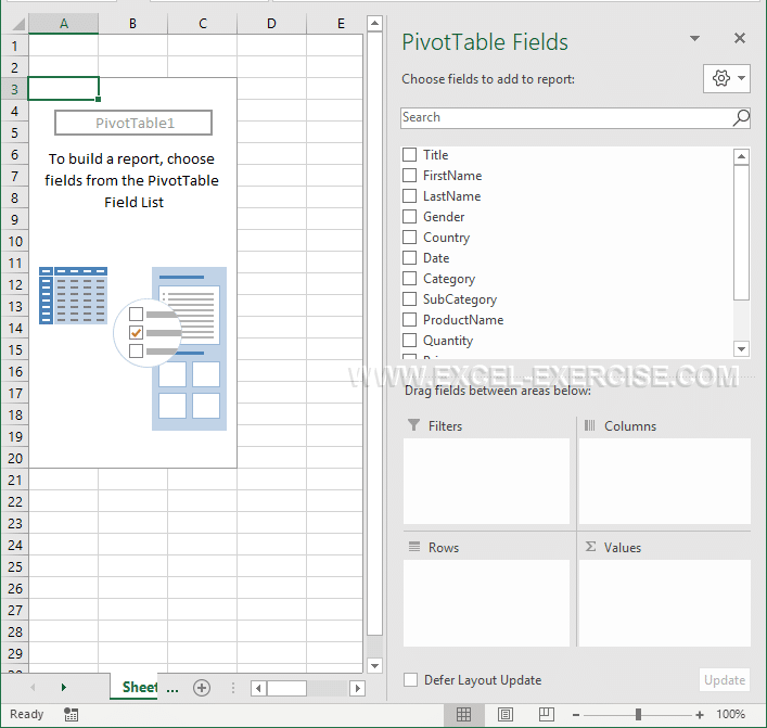 pivot table presentation excel exercise