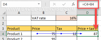 Formula to add the price and the tax