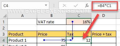 Formula to calculate the tax only