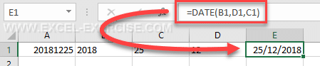 DATE function creates a real date with the 3 arguments day, month and year