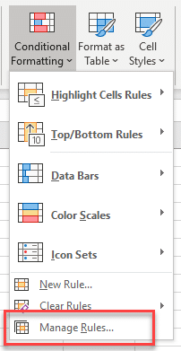 Menu conditional formatting Manage rules