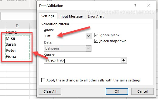 How to create a dropdown list with a range of cells