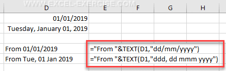 The TEXT function changes the format of the dates