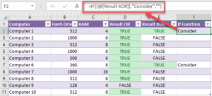 Function XOR Excel