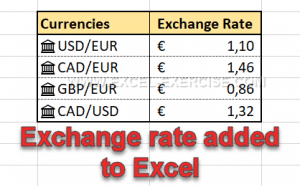 Exchange Rate added to Excel with Data types