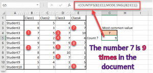 Number of times the most common number is in the document