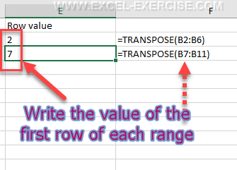 Value of the first row of each range to transpose