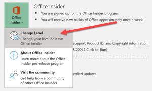 Change the level of your Office Program