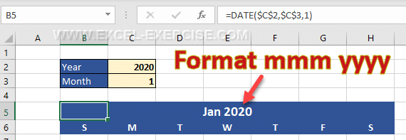Customize the date format to display the month and the year