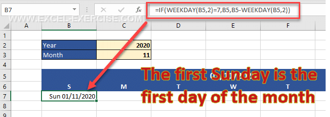 The formula returns the first day of the month