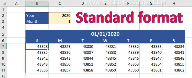 Values returns by the function SEQUENCE in Standard format