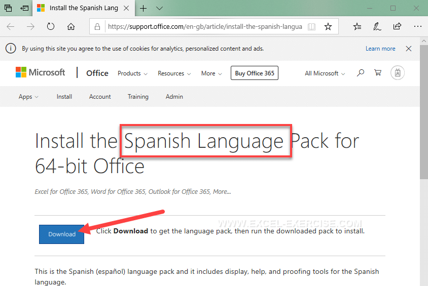 Download your pack language