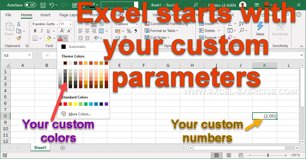 Excel starts with your custom parameters