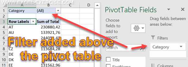 Field as Filter for the pivot table