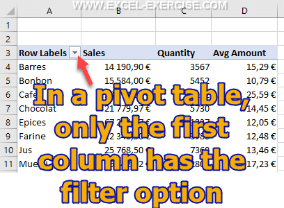 Default filter option in a Pivot Table