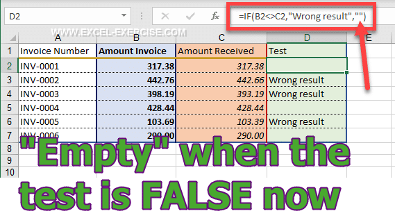 IF function can return empty result when the test is FALSE