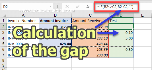 IF returns the gap between the amount of the invoice and the amount paid