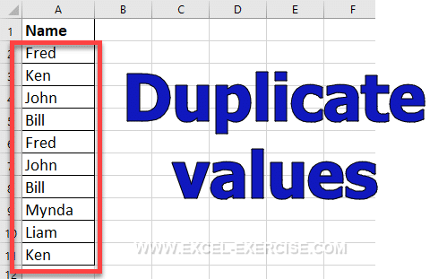 List of values with duplicates