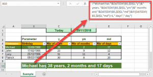 Seniority of the employees calculated with DATEDIF