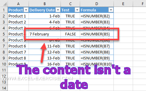 Test if a cell content a date
