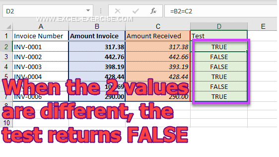 Test to detect if a payment is the one expected or not