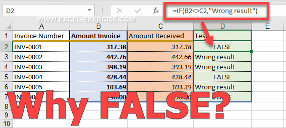 The IF function returns FALSE why