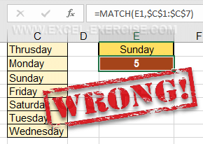 The last argument is not fill and the MATCH function returns a wrong result