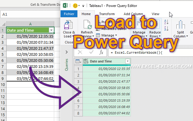 Load data to Power Query from a Table