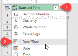 Power Query Change Type to Date and Time