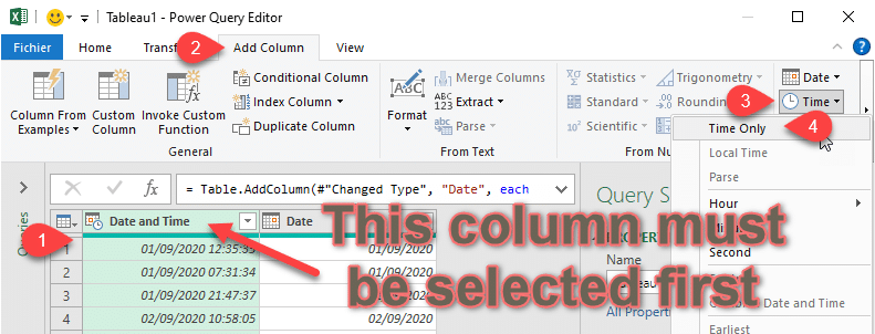 Power Query Extract Time only