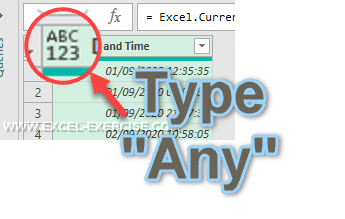 Type Any in Power Query
