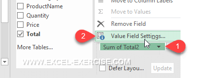 Menu Value Field Setting
