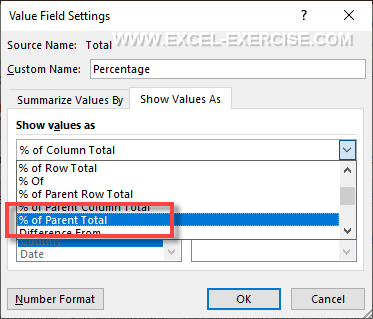 Option percentage of Parent Total