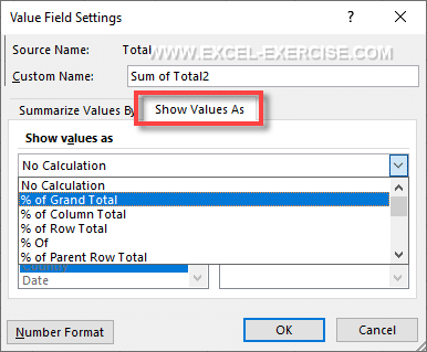 Pivot Table Tab Show Values As